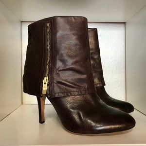 Vince Camuto Quale Dark Brown Leather Ankle Boots